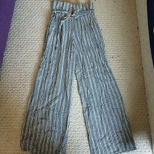 Wide Leg High Waist Pinstripe Pants